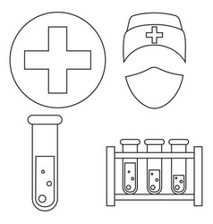 Line art black and white blood testing icon set vector
