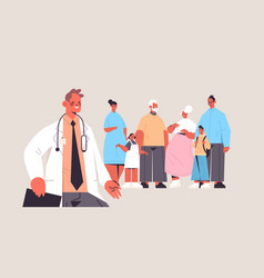 Male doctor conulting multi generation family vector