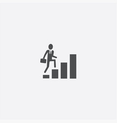 Man climbs stairs icon vector