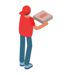 Man delivery give pizza box icon isometric style vector
