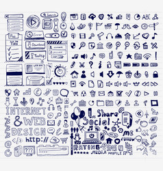 Mega collection of hand drawn universal internet vector