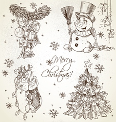 Merry Christmas vintage sketch draw set vector image