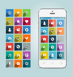 modern smartphone with apps icons on soft vector image