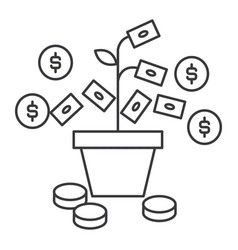 money growth line icon sign vector image