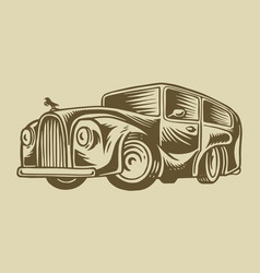 muscle car or vintage transport classic retro old vector image
