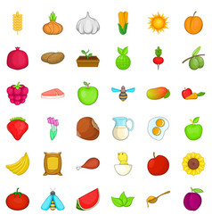 Natural ration icons set cartoon style vector