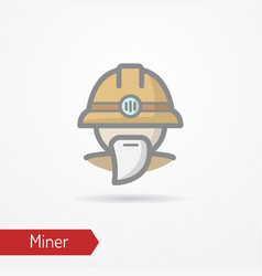 old miner in helmet icon vector image