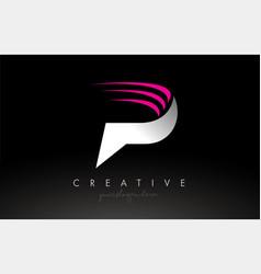 P white and pink swoosh letter logo letter design vector