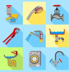 plumbing trouble icons set flat style vector image