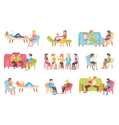 psychotherapy people talking about problems set vector image