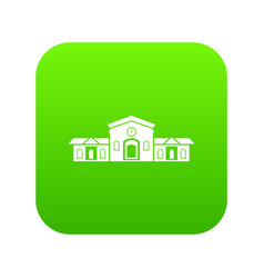 railway station building icon digital green vector image