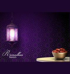 ramadan kareem greetings with lanterns hanging and vector image