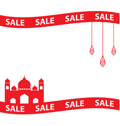 Ramadan sale banner with ribbonsdiscount and best vector