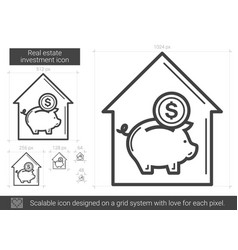 Real estate investment line icon vector