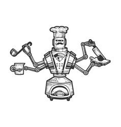 robot cook chef sketch engraving vector image