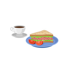 sandwich and two slices of tomato on blue plate vector image