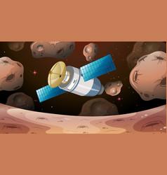 Satellite flying through asteroids vector