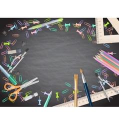 School supplies on blackboard background EPS 10 vector