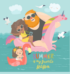 sea time cute family enjoy summer vacation at the vector image