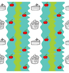Seamless design with cakes and apples vector image
