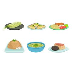 set freshly prepared food on plates vector image