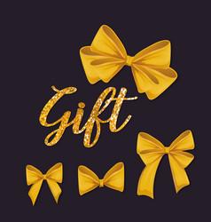 Set of yellow ribbons bowties decoration vector