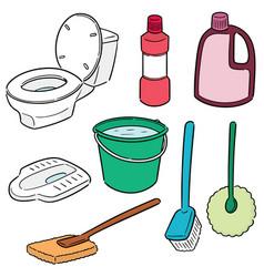Set toilet cleaner vector