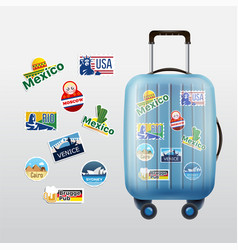 Set traveling stamps and luggage vector