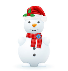 snowman in a red santa claus hat vector image