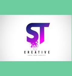 St s t purple letter logo design with liquid vector