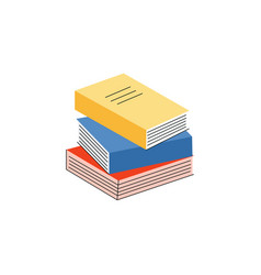 stack of paper books with vector image