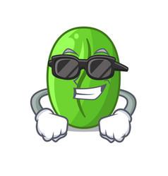 Super cool green coffee beans in cartoon coffee vector