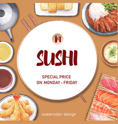 Sushi-themed border frame creative with food vector