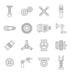 Techno mechanisms kit icons set outline style vector