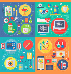 trendy flat design medicine and healthcare vector image