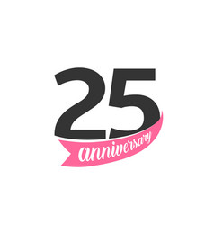 twenty five anniversary logo number 25 vector image