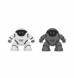 two robots white and black vector image