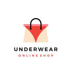 underwear online shop shopping bag logo icon vector image