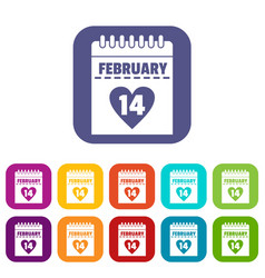 Valentines day calendar icons set flat vector