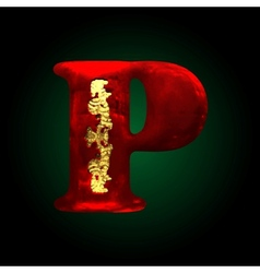 Velvet p letter with gold vector