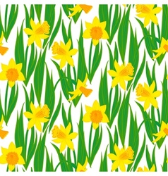 Vintage floral pattern with daffodils vector image
