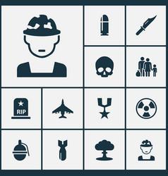 Warfare icons set collection of slug cranium vector