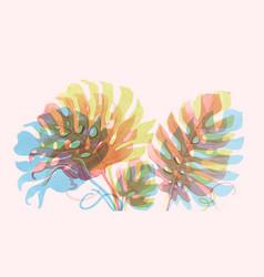 Watercolor tropical palm leaf set vector
