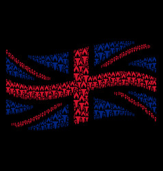 Waving united kingdom flag mosaic of fire torch vector