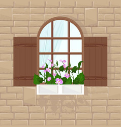 window of a brick house background front vector image