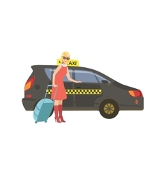 Woman With Suitcase Entering Black Taxi Car vector