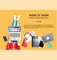 work at home concept with woman vector image