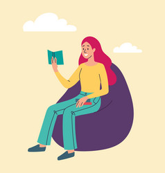 young smiling female character is reading on bean vector image