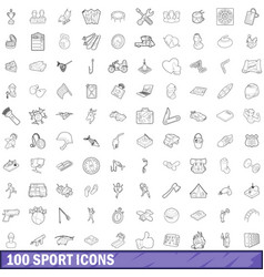 100 sport icons set outline style vector image vector image