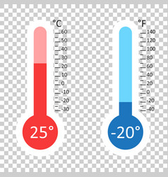 celsius and fahrenheit thermometers icon with vector image vector image